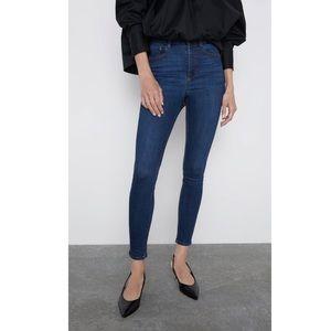 ZARA Dark Wash Super Skinny High Rise Jeans